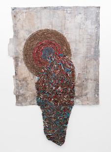 Wallen Mapondera | Melting Target II | 2019 | Cardboard, Waxed Thread and Wax Paper on Canvas | 243 x 153 cm