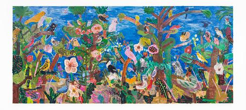 Georgina Gratrix | Parliament of Birds | 2019 | Oil on Canvas | 200 x 150 cm Each | Triptych