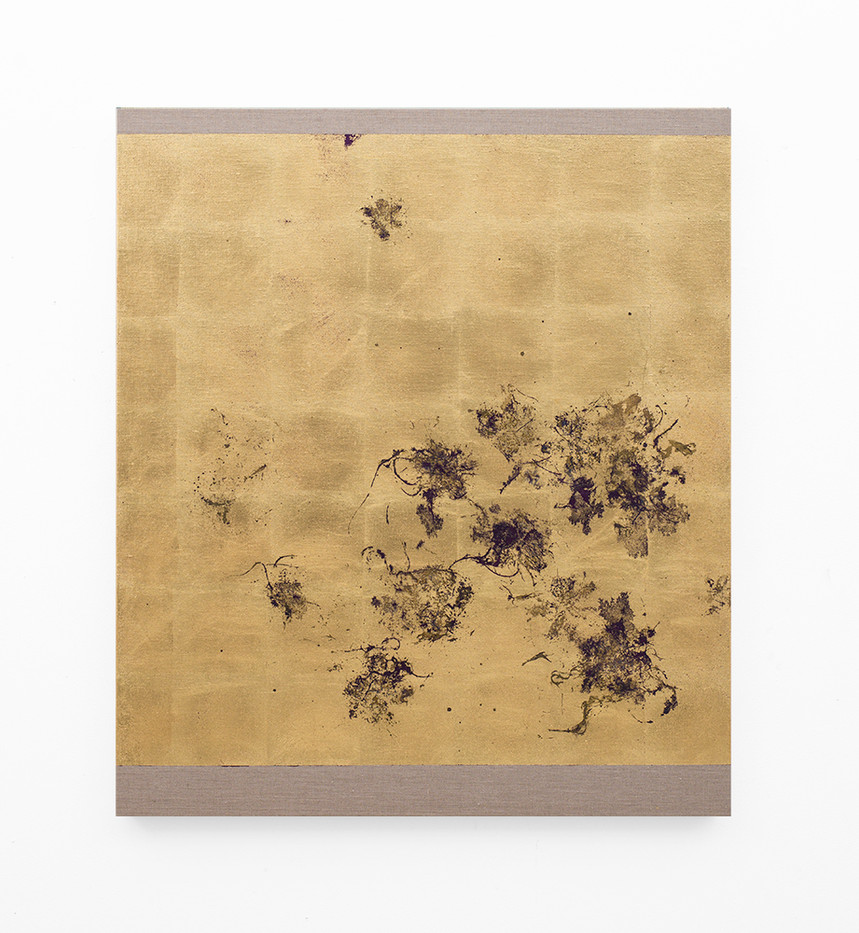 Pierre Vermeulen   Hair orchid sweat print, violet layer   2018   Gold Leaf Imitate, Sweat and Acrylic on Belgian Linen   105.5 x 90 cm