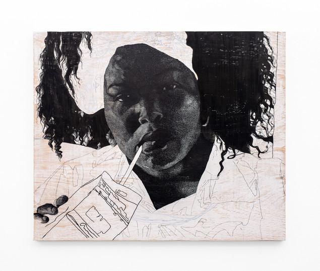 """Luyanda Zindela   """"Lalela. Ngingakunikeza imali yokuthenga awakho amahewu, kodwa ngeke ngikwazi ukuk'nikeza awami.""""   2020   Acrylic Paint Marker & Graphite on Pine Board   100 x 120 cm"""