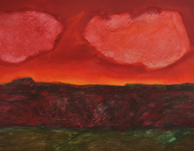 Kevin Atkinson | Karoo Red | c. 1980 | Acrylic and Marble Dust on Canvas | 175 x 229 cm