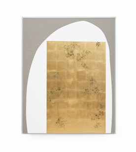 Pierre Vermeulen | Hair orchid sweat print, white with green | 2019 | Sweat, Gold Leaf Imitate, Shellac and Acyrilc on Belgian Linen | 160.5 x 131 cm