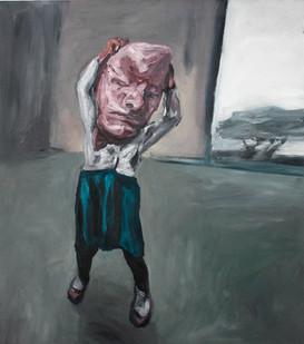 Johann Louw | Meisie met Rubber Masker | 2012 | Oil on Board | 122 x 118 cm