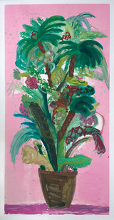 Georgina Gratrix | North Beach Flowers | 2014 | Monotype on Paper | 216 x 114 cm