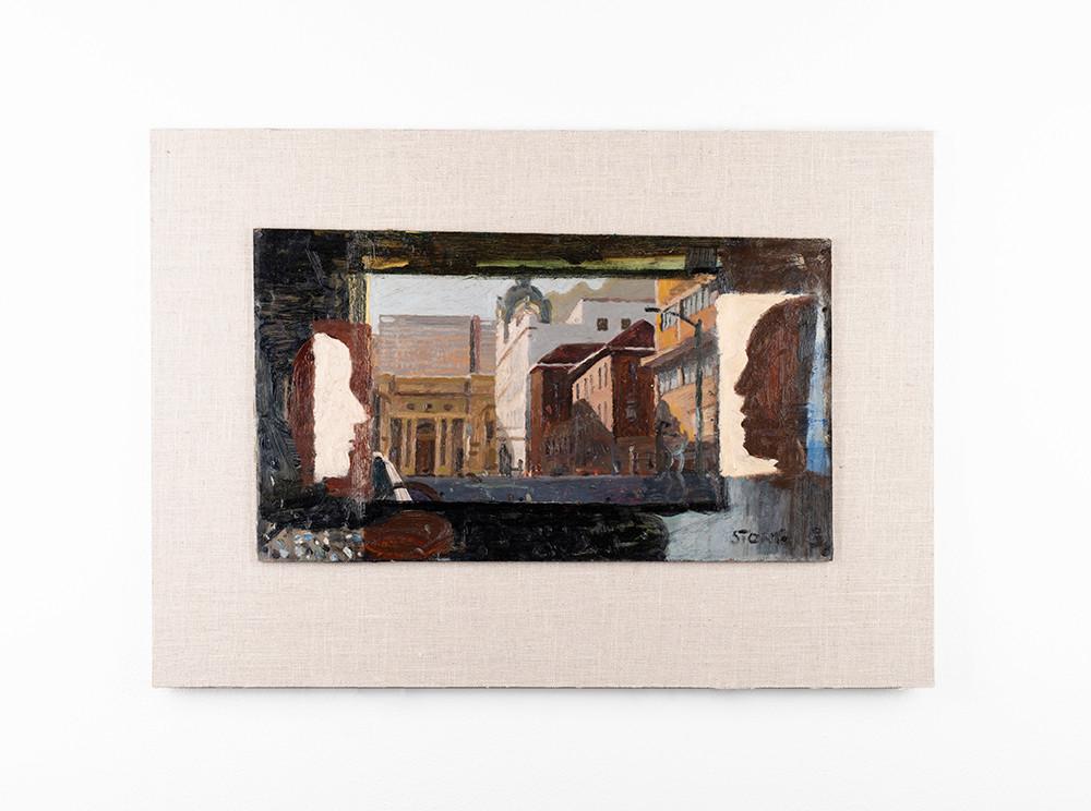 Simon Stone | Die Hoff | 2020 | Oil on Cardboard | 23 x 39.5 cm