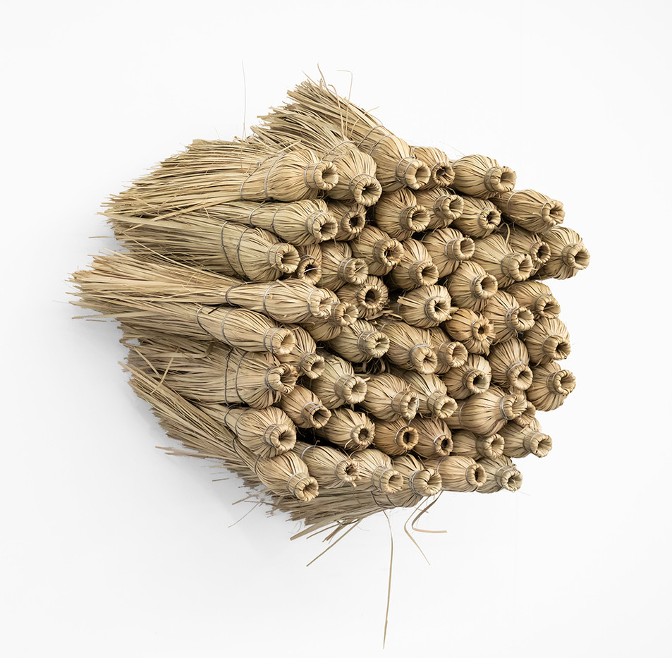 Usha Seejarim   Home 1 (Side View)   2019   Grass Brooms and Wire   80 x 56 x 60 cm