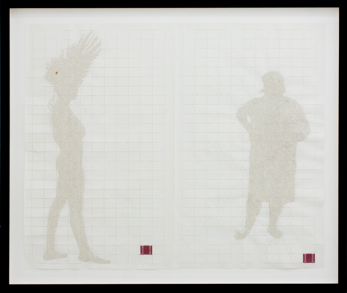 Kim Lieberman | Every Interaction Perforates the Future | 2001 | Postage Stamp Paper, Oil Paint, Silk Thread | 37 x 63 cm
