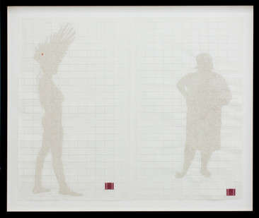 Kim Lieberman   Every Interaction Perforates the Future   2001   Postage Stamp Paper, Oil Paint, Silk Thread   37 x 63 cm
