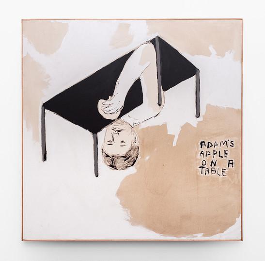 Brett Seiler   Adam's apple on a table   2021   Bitumen on Canvas   125 x 125 cm