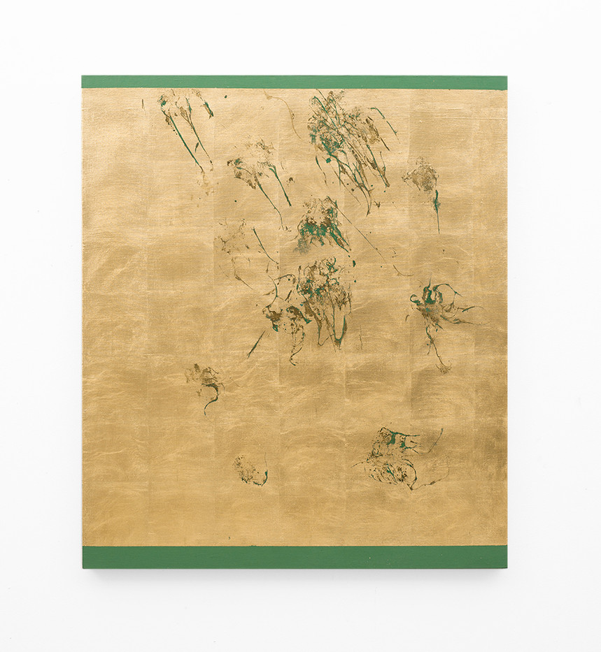 Pierre Vermeulen | Hair orchid sweat print, green scape | 2018 | Sweat, Gold Leaf Imitate, Shellac and Acrylic on Belgian Linen | 105.5 x 90 cm
