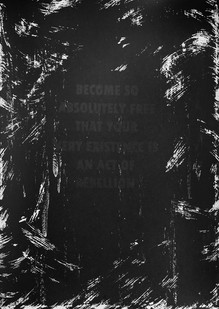 Katlego Tlabela | Freedom (After Camus) | 2017 | 2-Colour Screen Print on Muken Lynx | 58 x 43 cm