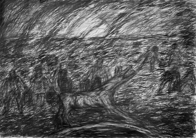 David Koloane   Dogs Howling at the Moon   1992   Pencil and Charcoal on Paper   64 x 91.5 cm