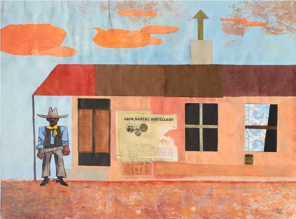 Peter Clarke | Black Cowboy | 1982 | Gouache Collage on Paper | 50.5 x 65 cm