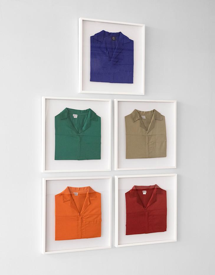 Gareth Nyandoro | Legal hustle | 2019 | Cotton Conti shirt | 55 x 55 cm