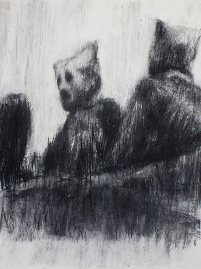 Johann Louw | VersluierdePortret II | 2014 | Charcoal on Paper | 173 x 134 cm