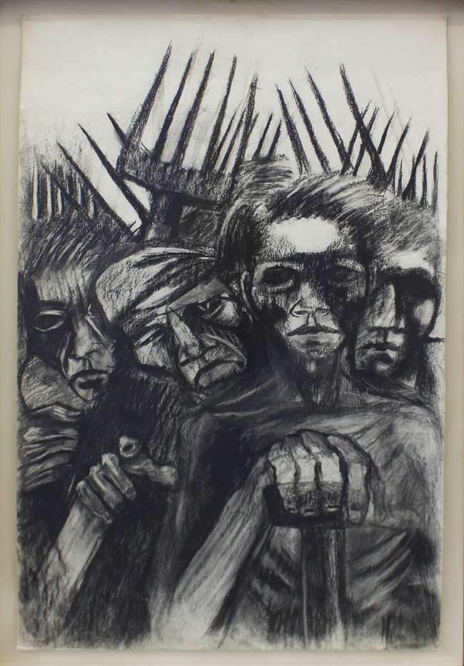 Albert Adams | Untitled (Four Figures with Pitchforks) | c. 1950 | Chalk on Paper | 102 x 67 cm