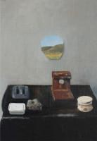 Simon Stone | Black Top and Meteorite | 2012 | Oil on Board | 57.5 x 48 cm