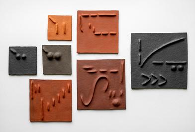 Pyda Nyariri   Pidgin Tile Set 1   2019   Fired Earthenware Clay   Dimensions Variable