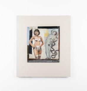 Simon Stone | Arms Akimbo | 2020 | Oil on Cardboard | 23 x 20 cm