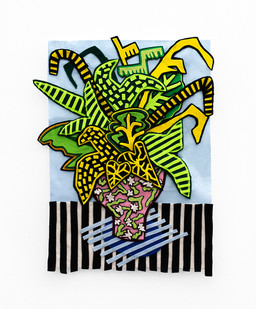 Jody Paulsen | Stripey Blue Arrangement | 2020 | Felt Collage | 78 x 56 cm
