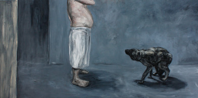 Johann Louw | Dubbelbeeld: Man met kruipende hond | 2012 / 2013 | Oil on Plywood | 122 x 245 cm