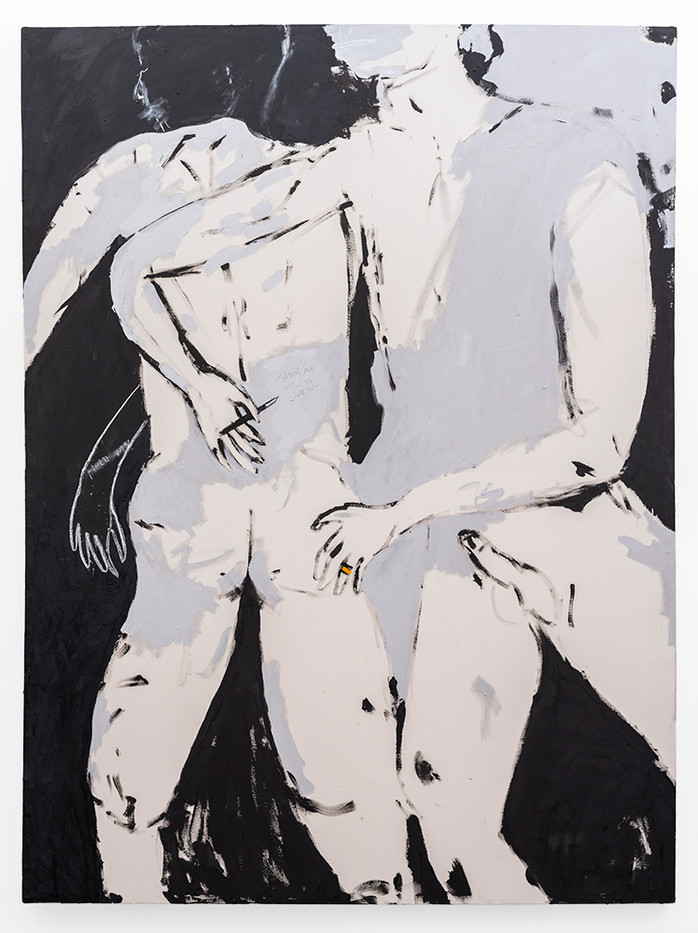 Brett Seiler | Lovers (writings on your back) | 2019 | Roof Paint on Canvas | 201 x 149 cm