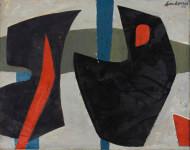 Erik Laubscher | (Grey) Composition | 1958 | Oil on Canvas | 49 x 60 cm