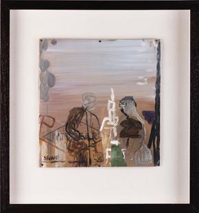 Simon Stone | Two Figures Around a Sculpture | 2017 | Oil on Cardboard | 27 x 26 cm