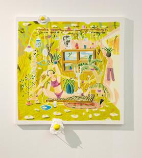 Marlene Steyn | Advanced Yoga for Eggs | 2016 | Oil on Canvas and Ceramic | 100 x 100 cm