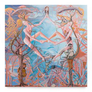 Marlene Steyn | I am bush myselves | 2019 | Oil, Goldleaf & Mixed Media on Canvas | 170 x 170 cm