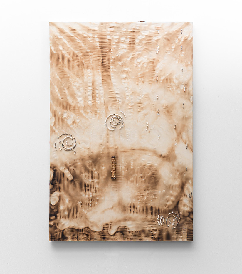 Sandile Zulu | Root of the Desert Shaman at the Bottom of the Waterfall Site | 2017 | Fire Water, Air, Earth, Canvas and Root | 146 x 95 cm