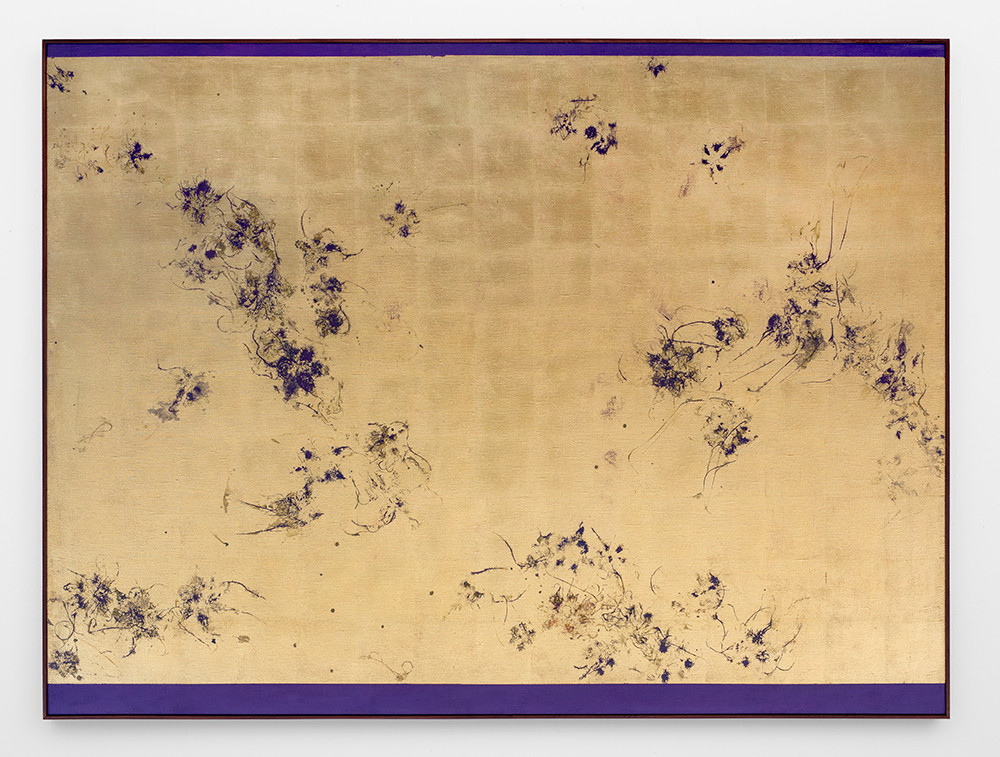Pierre Vermeulen | Hair orchid sweat print, deep violet | 2018 | Sweat, Gold Leaf Imitate, Acrylic and Shellac on Linen | 150 x 202 cm