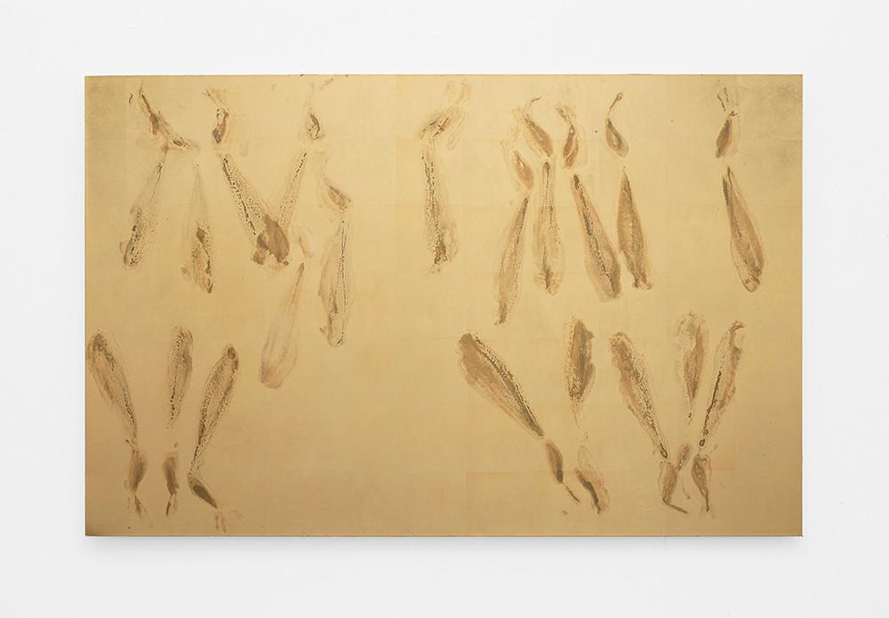 Pierre Vermeulen | Sweat Print nr 24 | 2020 | Gold Leaf Imitate, Shellac and Sweat on Dibond | 95 x 147 cm