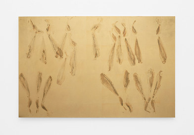 Pierre Vermeulen | Sweat Print nr 24 | 2020 | Gold Leaf Imitate, Shellac and Sweat on Dibond | 95 x 147 cm