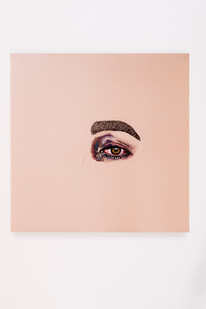 rances Goodman | Elizabeth on the Bathroom Floor | 2018 | Hand-Stitched Embroidery on Satin | 45 x 45 cm