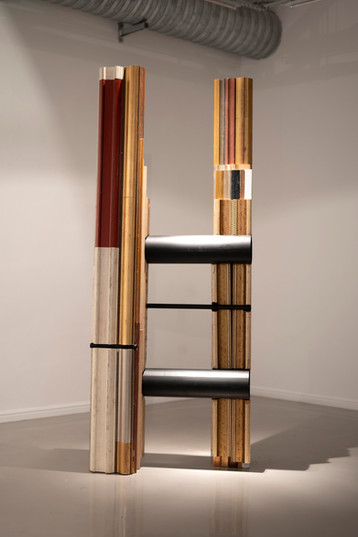 Usha Seejarim   Slanted Representation   2021   Reclaimed Frame Moldings and Steel Tube   210 x 80 x 55 cm