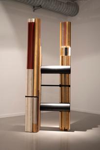 Usha Seejarim | Slanted Representation | 2021 | Reclaimed Frame Moldings and Steel Tube | 210 x 80 x 55 cm