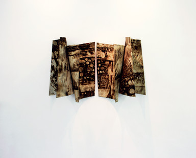 Sandile Zulu | Shards of the Delta I | 2014 | Fire, Water, Air, Earth, Canvas, Hardboard | 92 x 140 x 45 cm