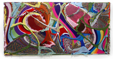 Barend de Wet | Maximal Large Knitting I | 2012 | 100% Acrylic Wool and Paint on Board | 123 x 245 cm