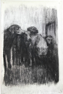 Johann Louw   Goya se Honde   2016   Charcoal on Paper   190 x 130 cm