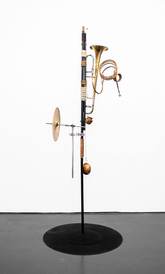 Masimba Hwati   Sokunge 1   2019   Metal and Copper Tubing, Metal Plate and Found Objects   227 x 85 x 85 cm