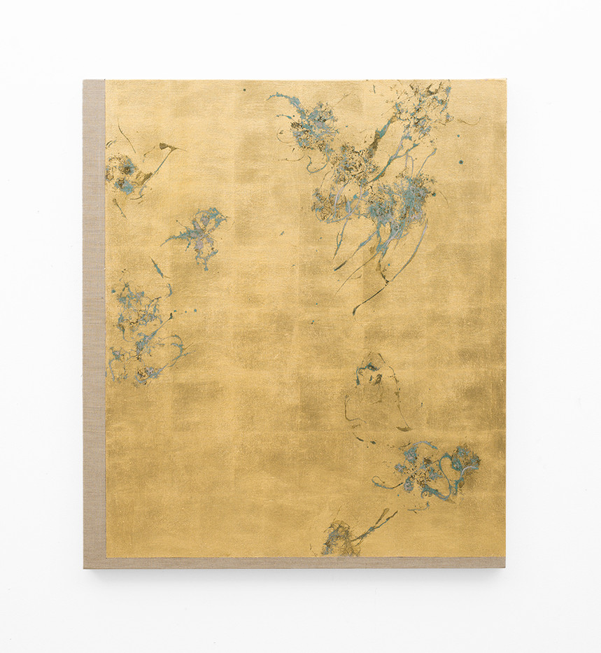 Pierre Vermeulen   Hair orchid sweat print, pink layer   2018   Sweat, Gold Leaf Imitate, Shellac and Acrylic on Belgian Linen   105.5 x 90 cm