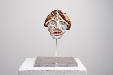 Marlene Steyn   Her In Her Voices (The Flu)   2017   Oil Paint on Ceramic, Brass, Marble   16 x 14 cm