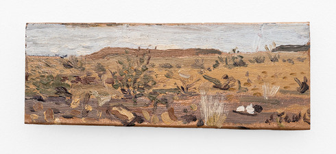 Simon Stone | Days Alone II | 2018 | Oil on Cardboard | 8.5 x 22 cm