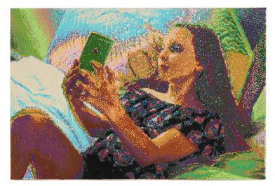 Frances Goodman | Selfie Love | 2018 | Hand-Stitched Sequins on Canvas | 96 x 141 cm