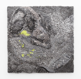 Galia Gluckman | (inter)leading 1 | 2019 | Construction with Canvas Textured Paper, Acrylic, Balsa Wood and Bonding Tape on Board | 51 x 51 cm