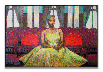 Frances Goodman   The Red Room   2020   Hand-Stitched Sequins on Canvas   95 x 140.5 x 7 cm