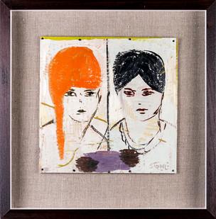 Simon Stone | Orange Hair | 2019 | Encaustic on Cardboard | 28 x 28 cm