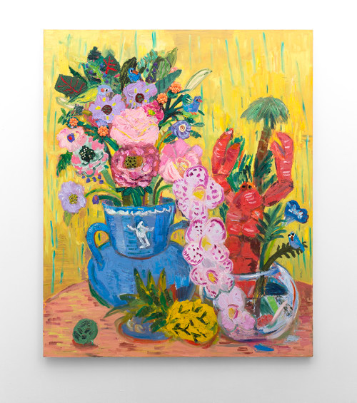 Georgina Gratrix   Rock Lobster and Friends   2016   Oil and Found Objects on Canvas   175 x 140 cm