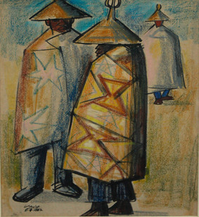 Peter Clarke | Basuto Men in Discussion | 1962 | Crayon, Pen and Ink on Paper | 32 x 25 cm
